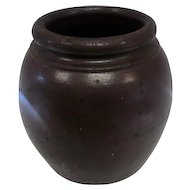 "Late 1800's Brown Crock Jar/Planters Pot - 8"" Tall"