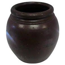 """Late 1800's Brown Crock Jar/Planters Pot - 8"""" Tall"""