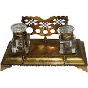 Late 1800's Glass Ink Well & Brass Holder