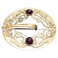 "Late 1890's Art Noveau Broach Pin w/(2) Purple Glass Rhinestones - 2 5/8"" x 2 3/8"""