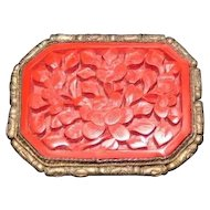 "Late 1890's Red Lacquer Pierced Cinnabar Broach Pin - 1 3/4"" x 1 1/4"""