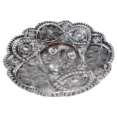 "Lot #702 - Footed Cut Glass Fruit Bowl Compote Platter - 13 3/4"" Diameter"