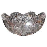 "Lot #703 - Cut Glass Pinwheel/Hobstar Bowl with Sawtooth Edge - 8"" Diameter"