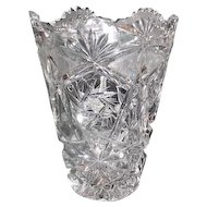 "Lot #704 - Cut Glass Star & Fan Pattern - Vase - 8 1/8"" Tall"