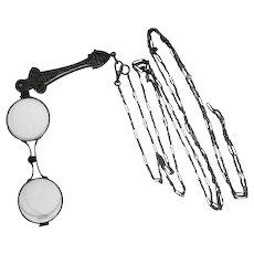 Lot #905 Antique Pop-Out Art Noveau Glasses on Long Chain - Late 1800's