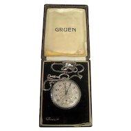 Lot #908 Gruen 15 Ruby Jewels/2 Positions/Semi Thin Pocket Watch w/Watch Fob