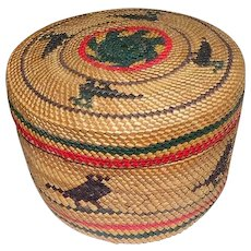 "Makah Lidded Native Basket Featuring Birds - 2 3/4"" Tall"