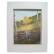Matted Watercolor of a Ranch Landscape by J. Brand