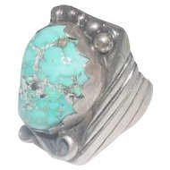 Men's Pawn Natural Turquoise Stone Ring - Size 11