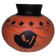 "Mexican Baderaware Vase - Signed R. Galvan - 6 1/2"" Tall"