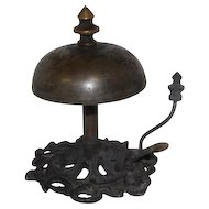 "Mid-Late 1800's Art Noveau Style Brass Hotel Desk Bell - 4"" Tall"