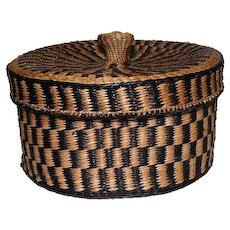 "Native American Basket with Lid - 4"" tall"