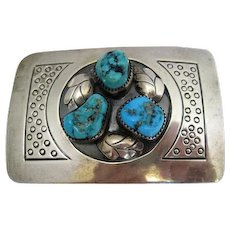 Native American Belt Buckle Signed L. B. Tom Featuring (3) Turquoise Stones