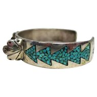 Native American Old Pawn Turquoise inlaid Arrow Watch Cuff Bracelet