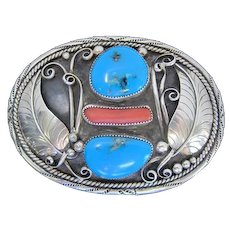 Native American Turquoise and Coral Pawn Belt Buckle signed by JB-GAY