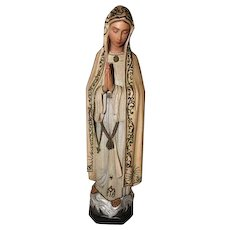 "Native South Tyrolian Art - Made in Italy - Hand Carved Wooden Mary - 12 1/2"" Tall"