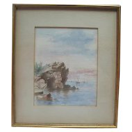 Nautical Watercolor Signed H.W.R. - Prof. Framed & Matted
