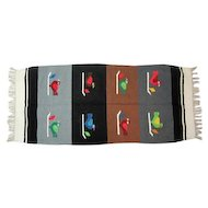 "Navajo Pictorial Rug - Aniline Dyed Colors - 63 1/2"" Long"