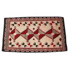 "Navajo Rug - Inner Border Stepped Design - 81"" Long"
