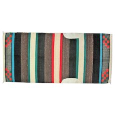 "Navajo Saddle Blanket - Leather Patches - 62"" Long"