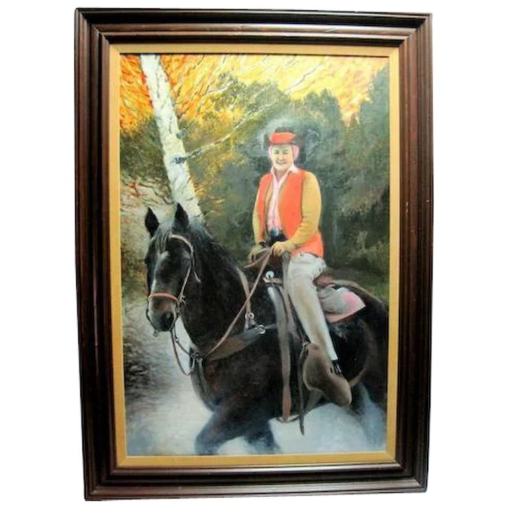 Oil Painting Woman on Horse Professionally Framed and Matted ...
