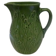 "Old - Green Floral Pottery Pitcher w/Handle - Floral Design - 8"" Tall"