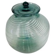 "Old - Hand Blown Teal Glass Ball Cookie Jar w/Lid - 10"" Tall"