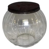 "Old - Round Glass Ball Canister w/lid - Features Veritcal Lines - 7 1/2"" Tall"