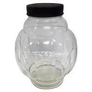 "Old - Round Glass Ball Canister w/Lid - Vertical Lines - 9"" Tall"