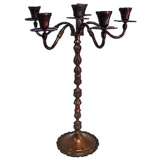 "Old Copper Candelabra Marked HECHO EN MEXICO DF 24 5/8"" Tall"
