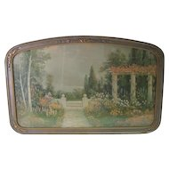 Old Garden & Landscape Print - w/Ornate Old Frame