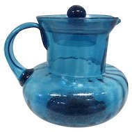 Old Hand Blown - Deep Blue - Handled Pitcher with Lid