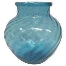 Old Hand Blown Blue Vase w/ Swirled Ribbing