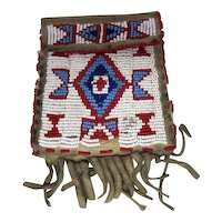 """Old Indian Beaded Leather Pouch - 5 1/4"""" Long"""