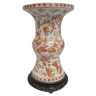 Old Large Hand Painted Oriental Pottery Vase - w/Wooden Base Stand