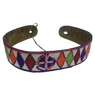 "Old Native American Beaded Belt w/ Buffalo Hide - 32"" Long"