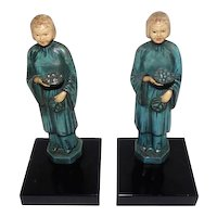 """Old Pair of Japanese Hand Painted Metal Girl Bookends - 8 1/2"""" Tall"""