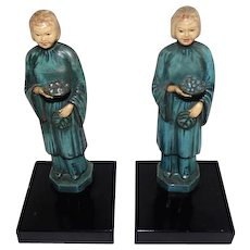 "Old Pair of Japanese Hand Painted Metal Girl Bookends - 8 1/2"" Tall"
