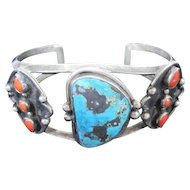 Old Pawn Turquoise and Coral Cuff Bracelet