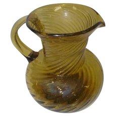 Old Yellow Amber Hand Blown Glass Handled Pitcher - Swirl Design