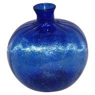 Old! Cobalt Blue Hand Blown Fluted Vase - Vertical Lines