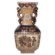 "Older Han Dpainied Royal Satsuma Figural Hand Painted Vase - 15 1/4"" Tall"