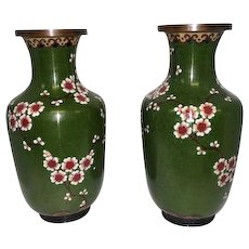 "Pair Cloisonne Decorative Cherry Blossom Metal Art Vases - 9 1/2"" Tall"