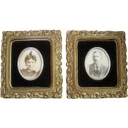 Pair of 1800's Black and White Photos with Ornate Frames