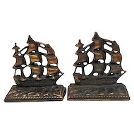 "Pair of 1920 Cast Iron/Copper Finish - ""Old Ironsides"" Bookends"