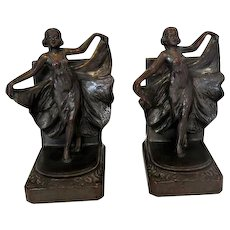 Pair of 1920's Loie Fuller Dancing Girl Bookends - Bronze Clad Spelter - Marked 500