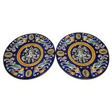 "Pair of Antique Hand Painted Majolica Wall Chargers - 12"" Diameter"