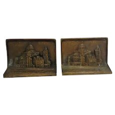 Pair of Antique Heavy Bronze Capital Dome Building Bookends - Marked Students Publishing Corporation