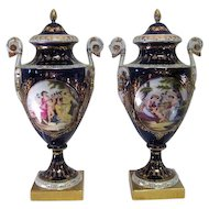 Pair of Art Noveau -WRN Marked - Cobalt Blue Urns/Vases