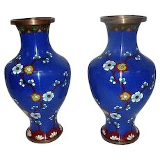 "Pair of Blue Cloisonne' Metal Art Vases w/Cherry Blossoms - 9"" Tall"